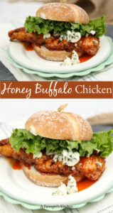 honey buffalo chicken sandwich on roll with chunks of blue cheese and green leaf lettuce