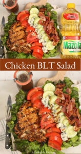 grllled chicken, tomato slices, cucumbers, crispy bacon, chunks of blue cheese on a plate with green leaf lettuce