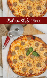 Italian style pizza with sweet sausage and cheese