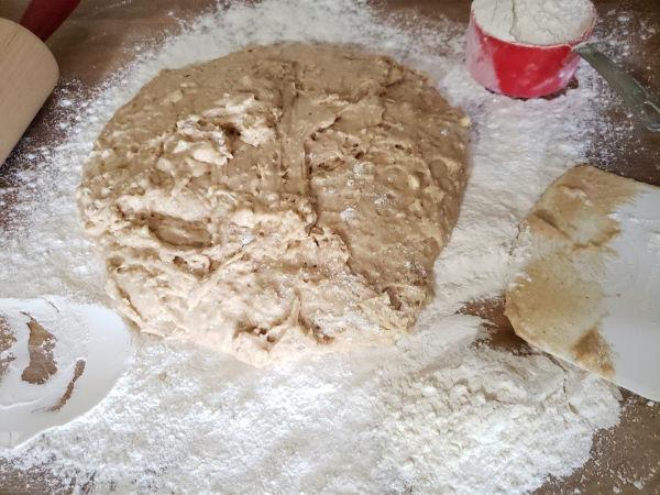 donut dough on butcher block