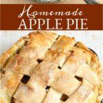 apple pie in a cast iron skillet with lattice pie crust