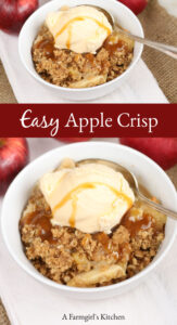 apple crisp in a white bowl with a scoop of vanilla ice cream