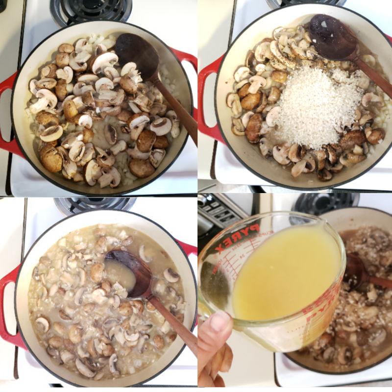 steps of cooking risotto