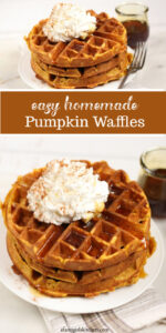 pumpkin waffles stacked on each other, topped with whipped cream, syrup, and ground cinnamon