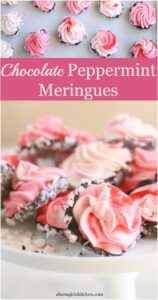 Peppermint swirl meringues dipped in chocolate and rolled in peppermint candy