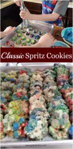 Spritz cookies on baking tray