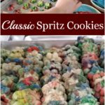 Spritz cookies on baking tray