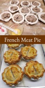 Meat pies on butcher block
