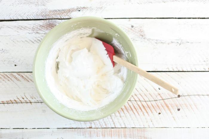 whipped egg whites in bowl
