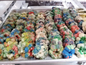 Colorful. Spritz Cookies on sheet pan