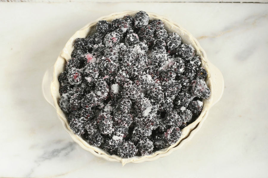 frozen blackberries in bottom pie crust