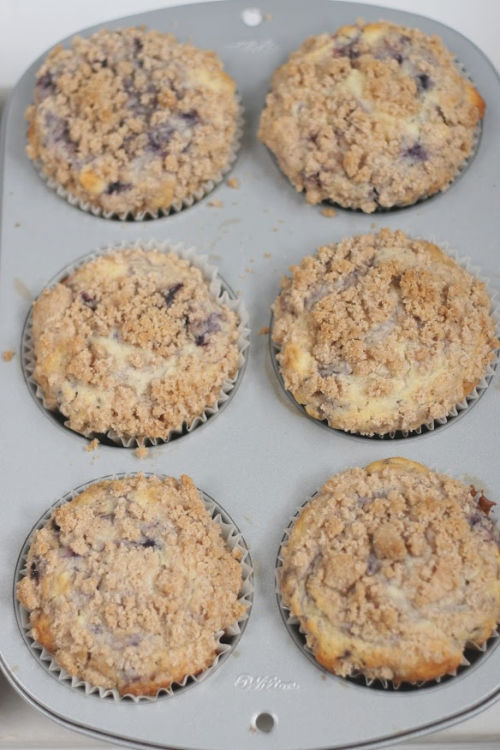 Blueberry muffins with crumb topping in muffin tin