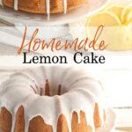 Lemon Bundt cake on white footed cake dish