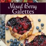 berry galettes on reclaimed wood boards, fresh raspberries, strawberries, blueberries in vintage strainer with wooden handle