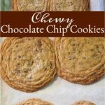 chocolate chip cookies with rippled edges on half sheet pan