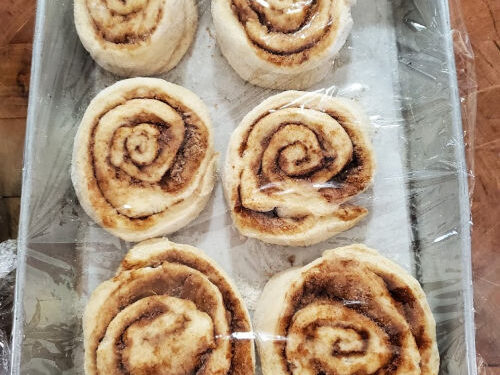 six cinnamon rolls rising in a 9x13-inch metal baking pan, covered with plastic wrap