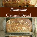 loaves of oatmeal bread in baking pans on reclaimed wood
