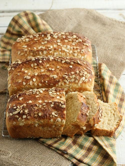 three loaves of homemade bread