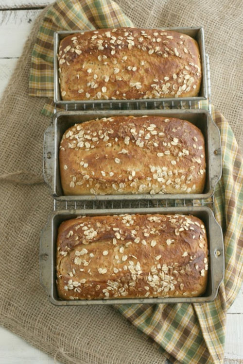 oatmeal bread in metal loaf pans
