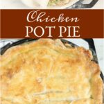 chicken pot pie in dual handle cast iron skillet