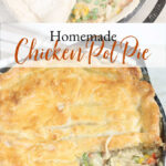 chicken pot pie in a cast iron skillet with dual handles