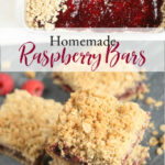 raspberry oatmeal bars squares stacked on each other, fresh raspberries surrounding