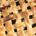 blackberry pie with lattice crust.