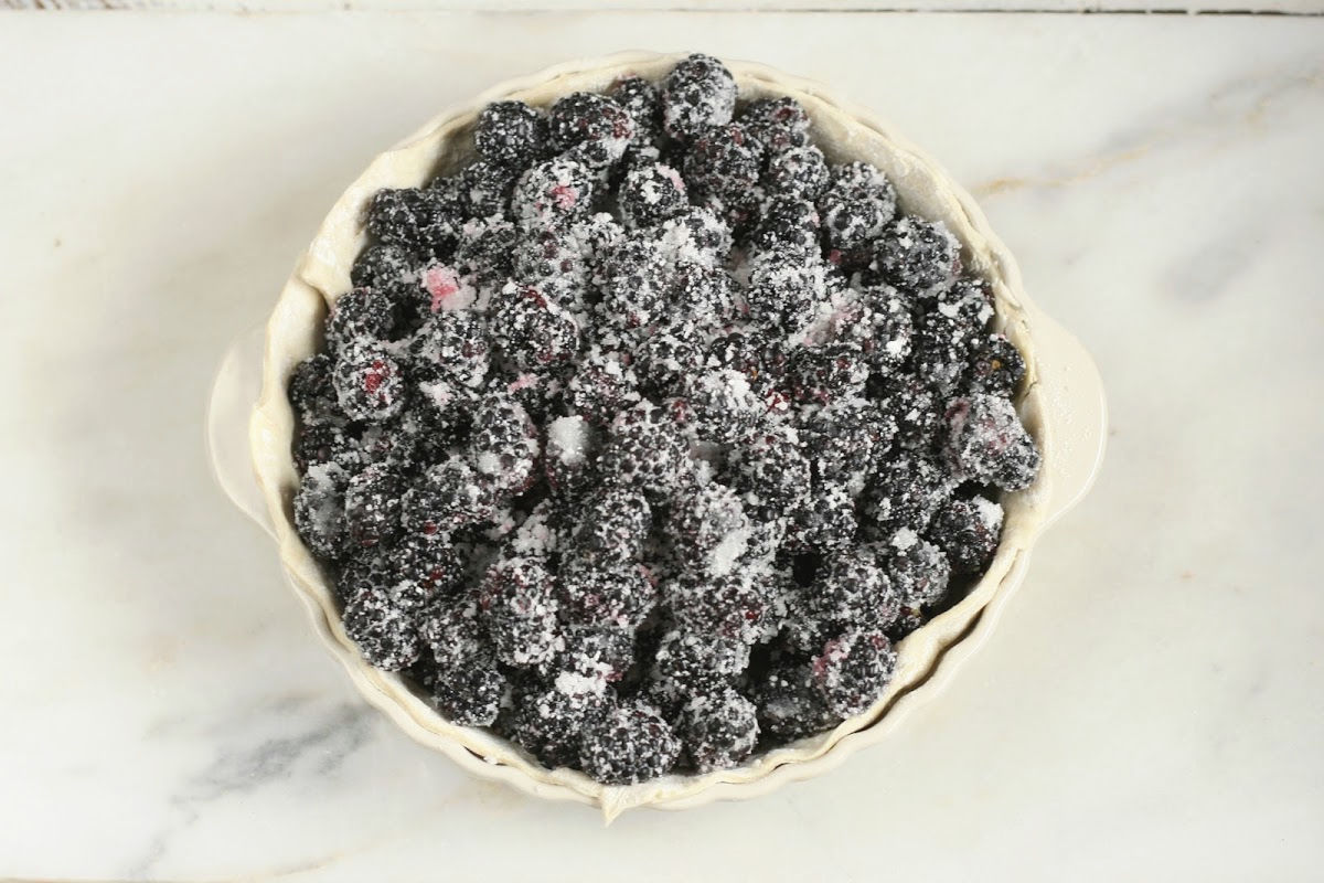 frozen blackberries and sugar in an unbaked pie shell on white marble.