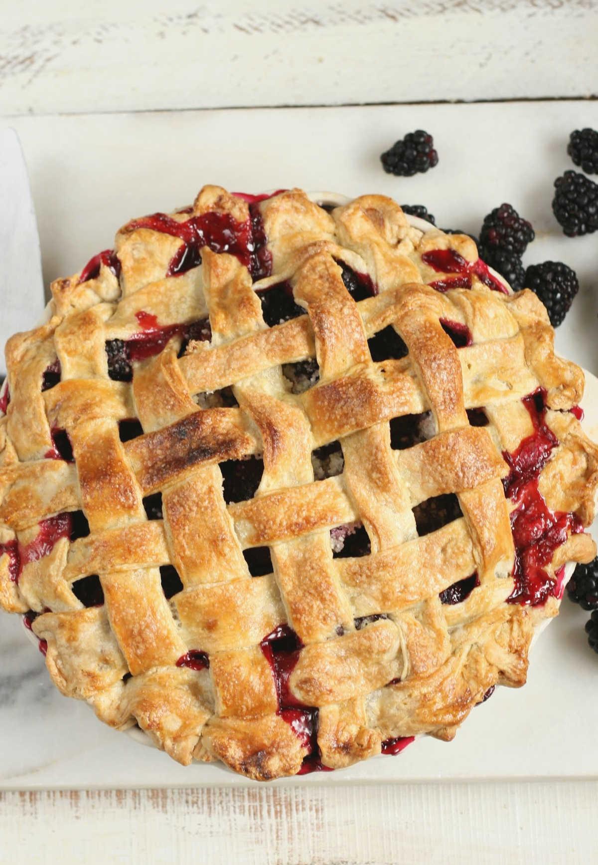 blackberry pie with lattice crust, fresh blackberries around it.