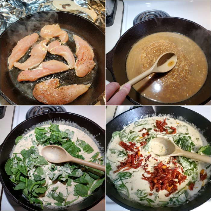 step images of browning chicken, adding wine to deglaze the pan, cream sauce, spinach