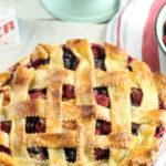 lattice pie crust on berry pie