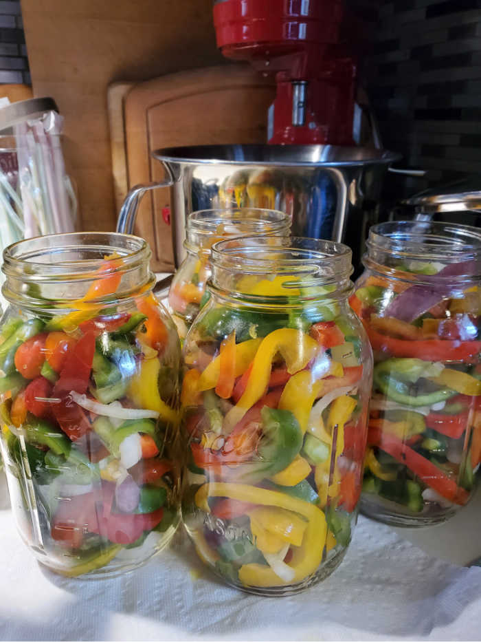 Glass quart Mason jars stuffed with slices of bell peppers before brine