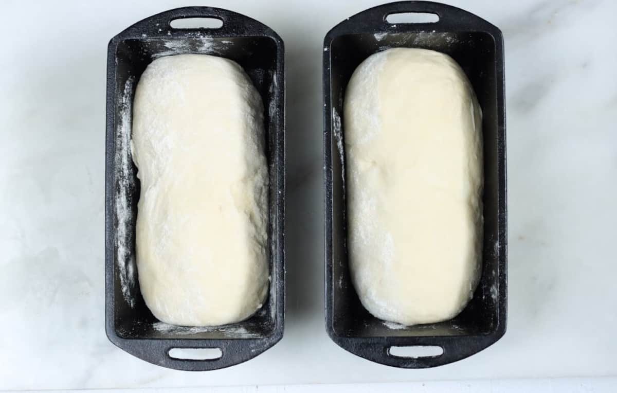 Two loaves of bread dough rising in cast iron bread pans on white marble.