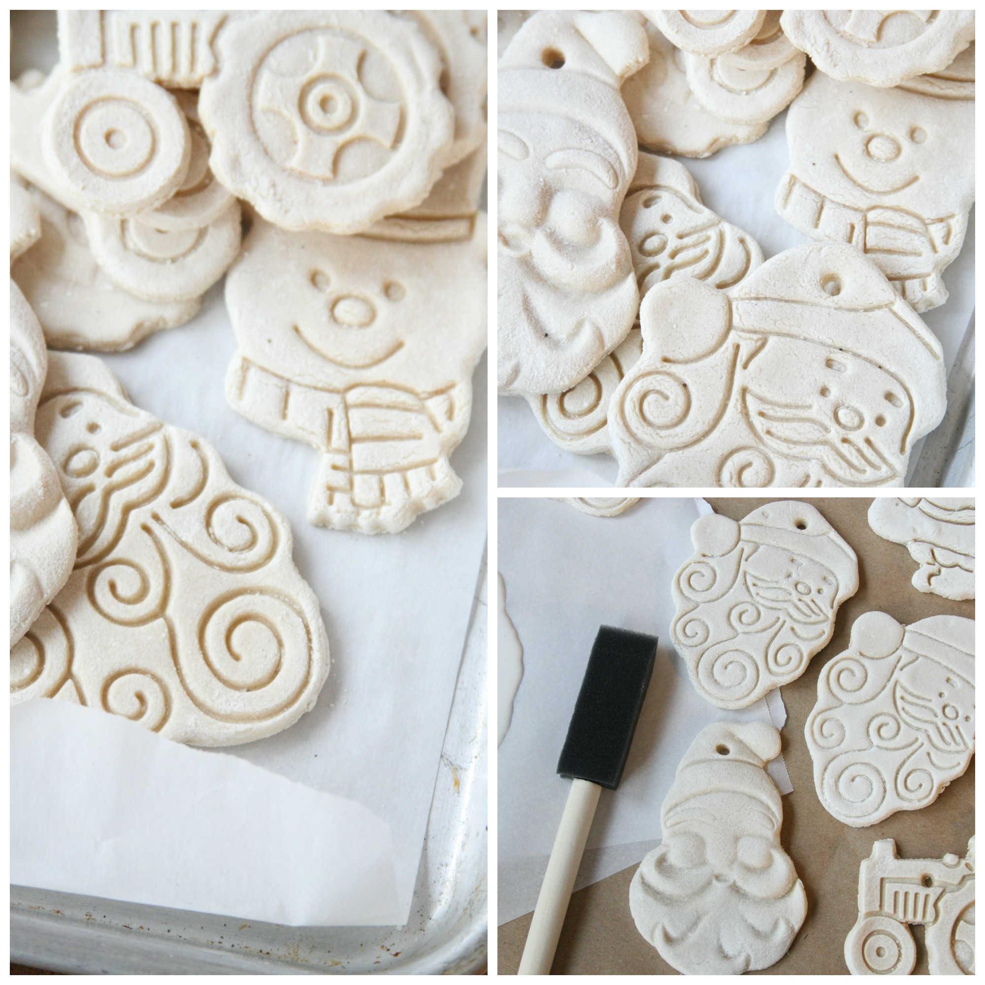 Step images of salt dough ornaments on brown Kraft paper.